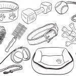psí doplňky - domácí zařízení ručně kreslené ilustrace — Stock vektor