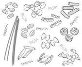 Types of pasta - hand-drawn illustration — Stock Vector