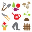 Colored gardening icons - tools and plants — Stock Vector