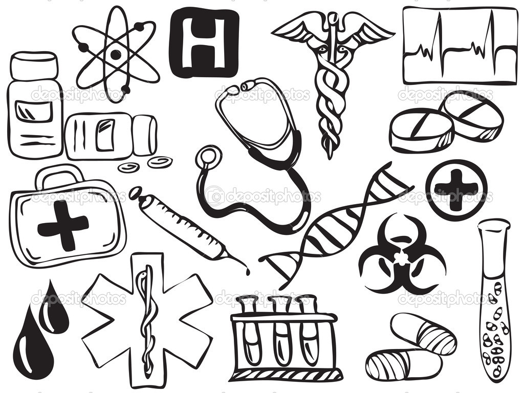 Ícones de medicina e farmácia de desenho - ilustração — Vetor de ...: pt.depositphotos.com/8562152/stock-illustration-medical-and...