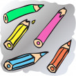 Broken pencils — Stock Vector