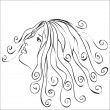 Woman with swirls hair - abstract illustration — Stock Vector
