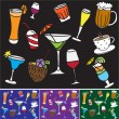 Some kinds of drinks and coctails - colored pattern and background — Stock Vector