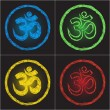 Wektor stockowy : Hinduism religion golden symbol om on black background - doodle