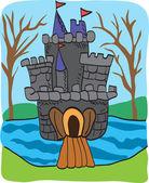 Fairy tale castle doodle - colorful cartoon sketch — Stock Vector