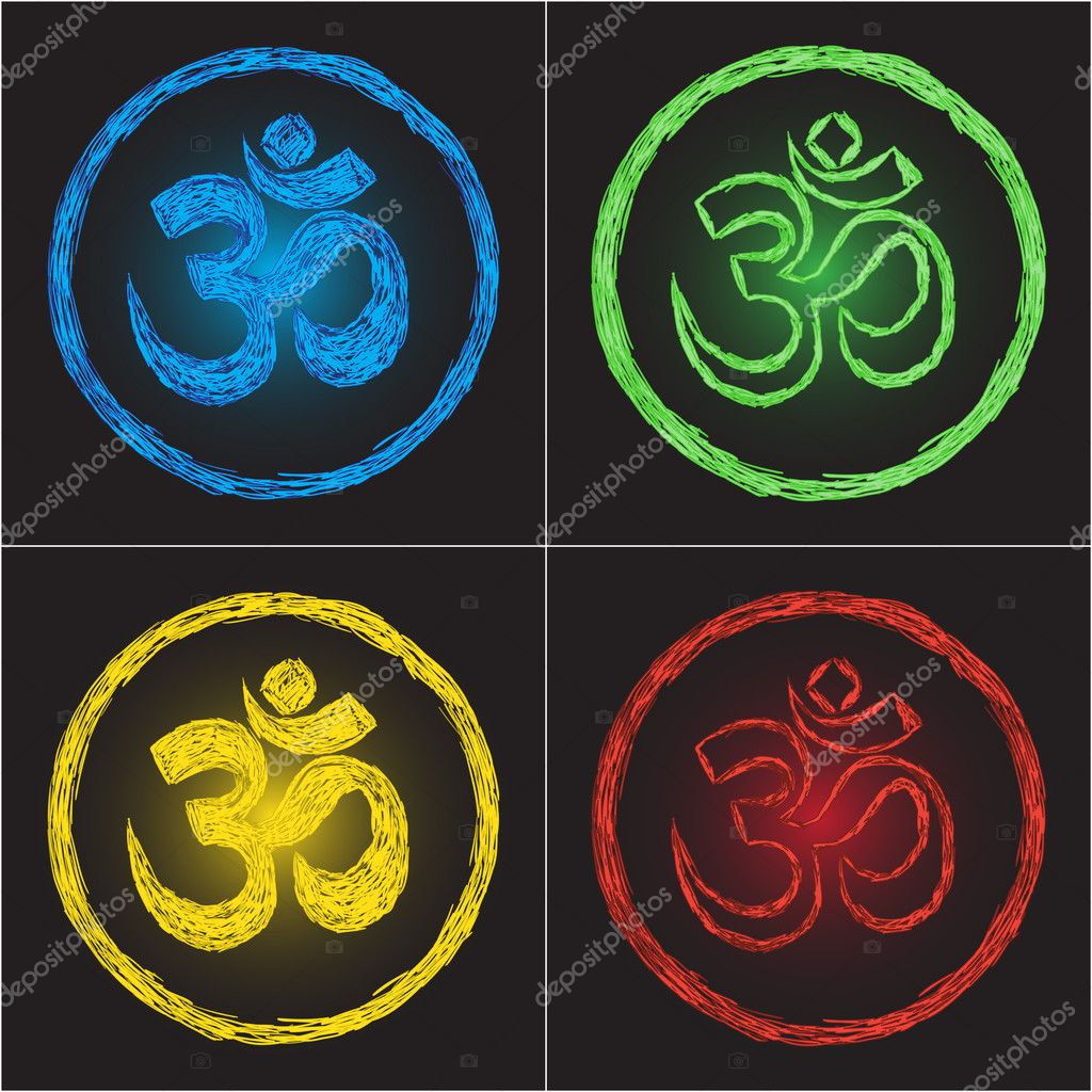 Hinduism religion golden symbol om on black background - doodle — Stock Vector #8651003