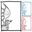 Stock Vector: Dragon sketch frame picture