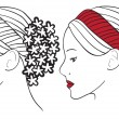 Vector de stock : Woman with flowers in hair