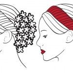 mulher com flores no cabelo — Vetorial Stock