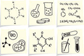 Chemistry and biology icons and formulas on yellow memo sticks — Vector de stock