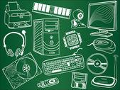 Composants de pc et des périphériques croquis sur commission scolaire — Vecteur