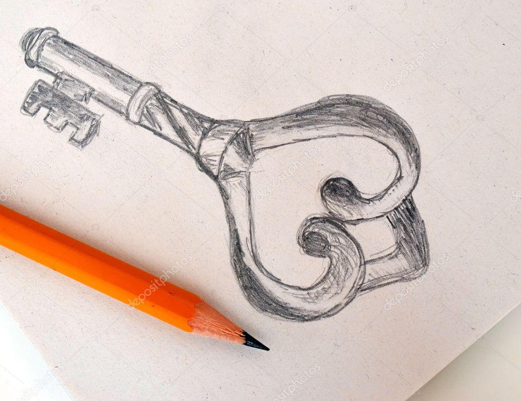 O 243 wkiem rysunek starodawny stary klucz do zdj cie stockowe