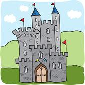 Fairytale castle kingdom cartoon style — Stock Vector