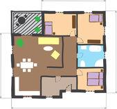 план этажа дома, разноцветные каракули стиля — Cтоковый вектор