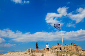 A Greece flag located at Acropolis, Athens, Greece — Stock Photo