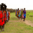 Stock Photo: Group of kenyof Masai tribe performs a