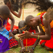 A group of kenyan of Masai tribe demonstrate - Stock Photo