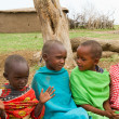 Stock Photo: Group of kenychildren of Masai tribe
