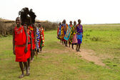 A group of kenyan of Masai tribe performs a — Stock Photo