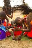 A group of kenyan of Masai tribe demonstrate — Stock Photo