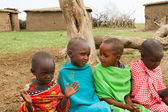 A group of kenyan children of Masai tribe — Stock Photo