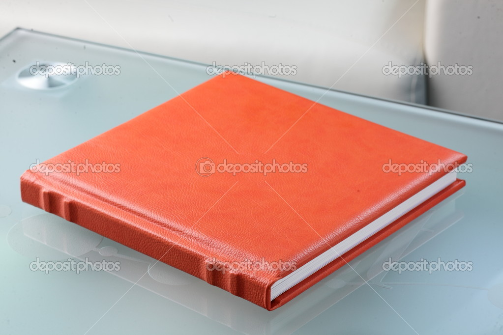 Orange leather book on bright background  Stock Photo #8636378
