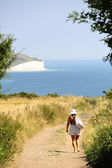 Walking near the Seven Sisters, East Sussex — Stock Photo
