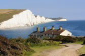 Coastguard Cottages, Cuckmere Heaven, East Sussex — Stock Photo