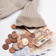 Money in a old sock — Stock fotografie