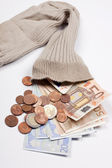 Money in a old sock — Stock Photo