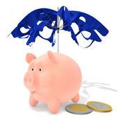 Piggy under the tattered umbrella — Stock Photo