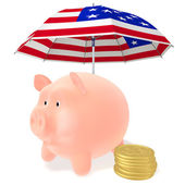 Piggy and coins under the umbrella — Stock Photo