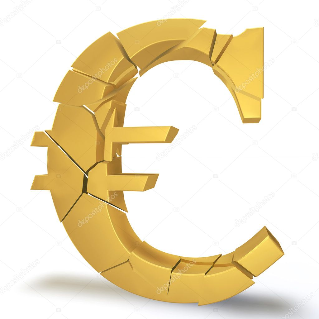 Golden Euro symbol on a white background breaks into small pieces — Stock Photo #9122987