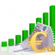 Euro and the growth diagram — Stock Photo