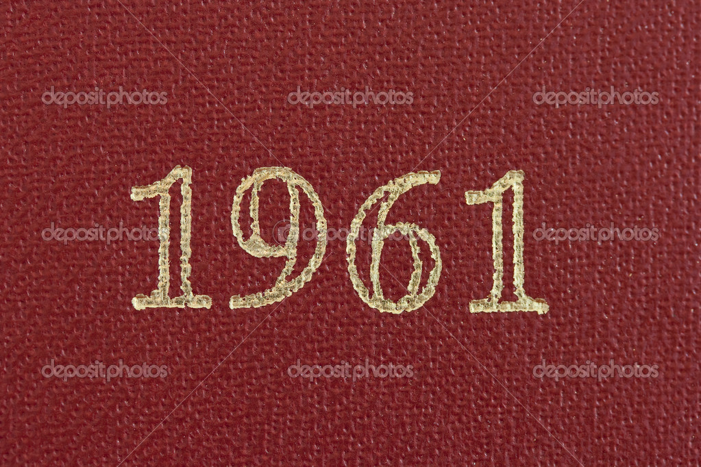 The number 1961 printed in gold on a red background — Stock Photo #10092536