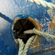 Stock Photo: Mooring Lines on Blue Vessel