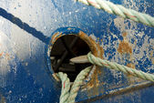 Mooring Lines on Blue Vessel — Stock Photo