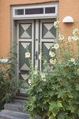 Door With Hollyhocks — Stock Photo