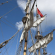 Sails on an old frigate — Stock Photo