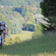 Cyclist in grassland — Foto Stock