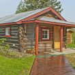 Stock Photo: ALASKAN REPLICHOMESTEADERS CABIN