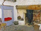 Early Irish kitchen w bedroom — Stock Photo