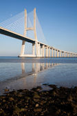 Vasco da Gama bridge in Lisbon — Stock Photo