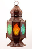 Lantern with colored stained glass — Stock Photo