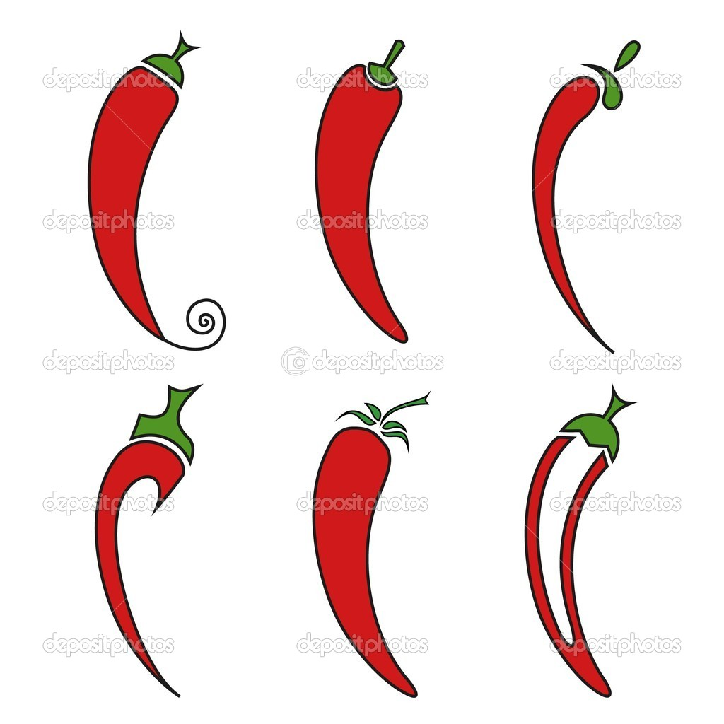 Hot chilli pepper vector set isolated on white background.  — Stock Vector #10225871
