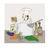 The cook on kitchen — Stock Vector