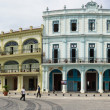 Panorama of Old Havana plaza Vieja, Cuba - Stock Photo