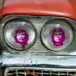Old Cuban car with Che lights — Stock Photo #8643925