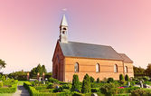 Minimalistic Danish church in Mosevraa — Stock Photo