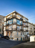 Typical Maltese building with balconies — Stock Photo
